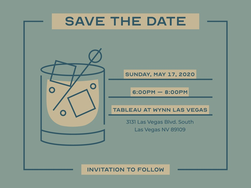 Cocktail Party: save the date bank save the date vegas las vegas bar party modern icon vector brand typography color color palette illustration cocktail branding design