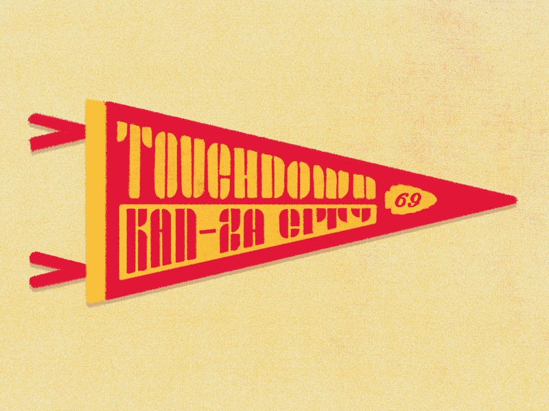 Touchdown Kan-za City! typography brand super bowl nfl football sports pennant 2019 1969 kcmo kc kansas city chiefs yellow gold red texture design