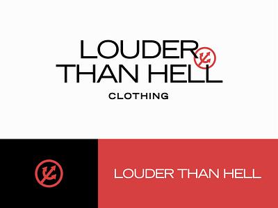 Louder than Hell pitchfork icon modern logo apparel fashion logo design lockup identity logo branding