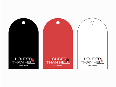 Louder than Hell pitchfork clothing clothing tag modern logo apparel fashion icon lockup identity logo branding