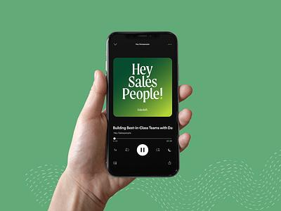 Salesloft | Hey Salespeople! Podcast Art cover art podcast brand visual identity podcast art lockup logo branding