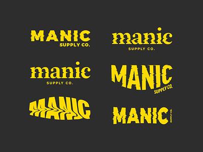 Manic Supply Co lockup logotype branding streetwear apperal clothing yellow glitch wave grunge movement logo play process logo