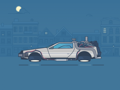 Great Scott! oldschool back to the future night buildings city icon ios outlinned delorean car illustration