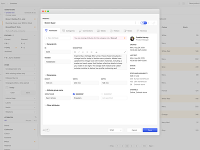 Attributes Popup Window icon set clean app ui cms interface ux minimal dashboad