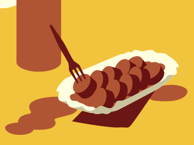 Currywurst berlin curry wurst sausage germany illustration vector travel food snack