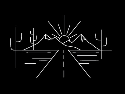 Desert desert linicon line drawing illustration road adventure sunset mountains traveling