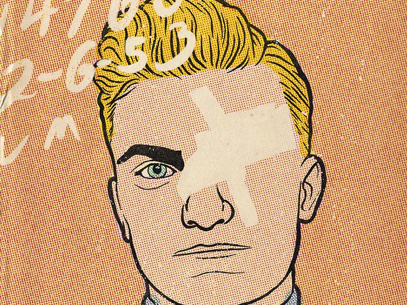 Vintage Mugshot 1 true crime vintage drawing portrait halftone illustration crime mugshot