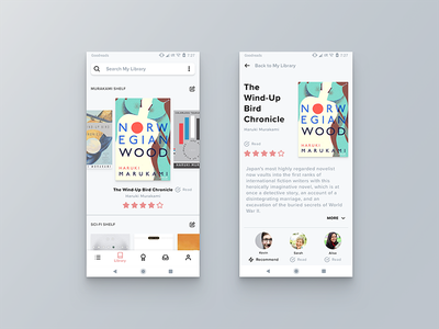 Goodreads on Android sketch interface feather design library android ui ux goodreads