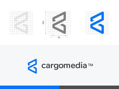 Cargomedia exploration construction icon identity branding it media cargo logo
