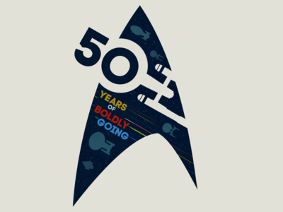 50 Years of Boldly Going flat design space flight spaceship contest sci-fi illustration graphic design star trek t-shirt