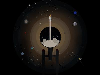 Pushing Boundaries  flat design space flight spaceship t-shirt star trek graphic design illustration contest sci-fi