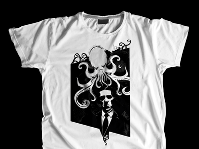 Cthulhu T-Shirt Design lovecraft horror tentacle sea monster black and white t-shirt cthulhu