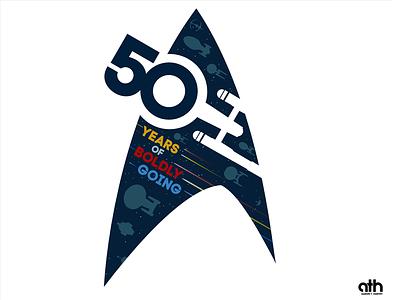 50 Years of Boldly Going - updated t-shirt star trek spaceship space sci-fi illustration graphic design flight flat design