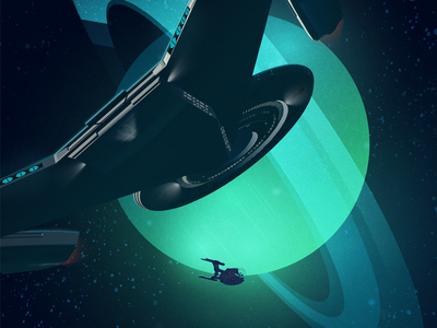 Discovery in Orbit spaceship illustrator television science fiction space sci-fi poster illustration ncc-1031 uss discovery discovery star trek