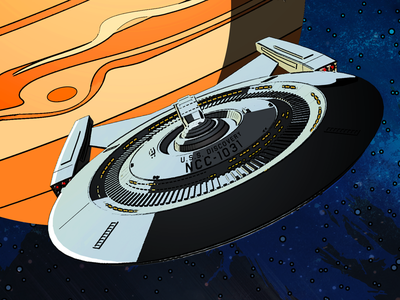 Follow Your Curiosity  spaceship illustrator television science fiction space sci-fi poster illustration ncc-1031 uss discovery discovery star trek