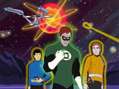 REALLY Alternate Star Trek/Green Lantern crossover cover! comic book comic book cover enterprise space superheroes sci-fi star trek illustration comics