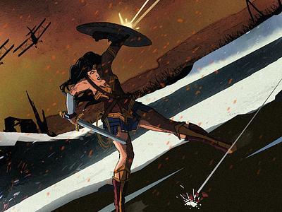 Wonder Woman at War comic book wonder woman cover poster illustration superhero comics