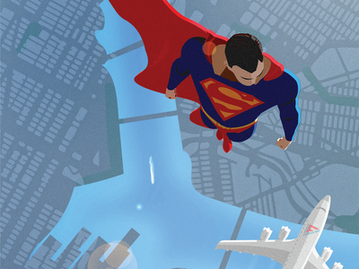 Metropolis Morning Commute hero clouds green lantern fan art illustration superman80 dc comics vector superhero superman