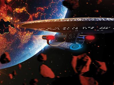 A Galaxy Class Disaster! 1701-d enterprise planet lava starfleet space ship science fiction starship illustration space environment star trek
