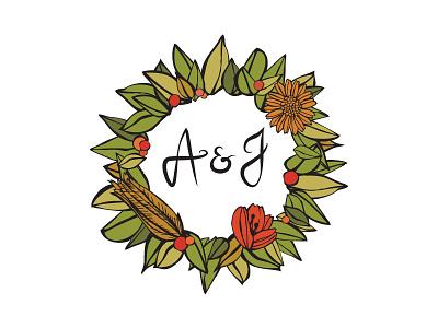 Invite Wreath illustration hand lettering invitation leaves sketch