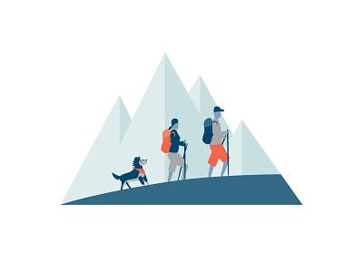 Who We Are Hiking illustration mountain hiking dog website