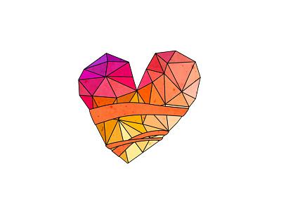 Wee heart geometric heart illustration