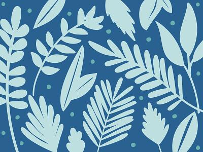 Leafy blues leaves vector hand drawn vector illustration art illustration