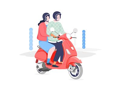Vespa sketch website onboarding header art vespa vector design illustrasi illustration