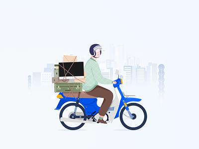 Otw vector riding motorcycle illustration illustrasi