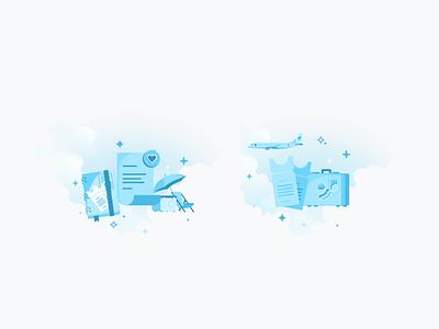 Travel illustration illustrasi onboarding icon ui sketch design travel ticket