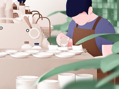 Coffee Shop coffeshop coffe ui garden activity onboarding leanding page landingpage icon vector flat header design illustrasi illustration