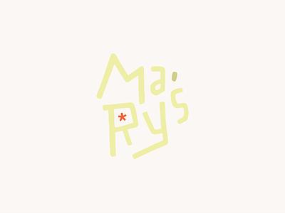 MARY'S I bright summer illustration fresh restaurant star handwritten logo branding