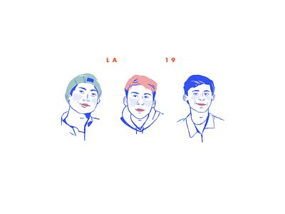 LA BOYS! bright face people boys illustration