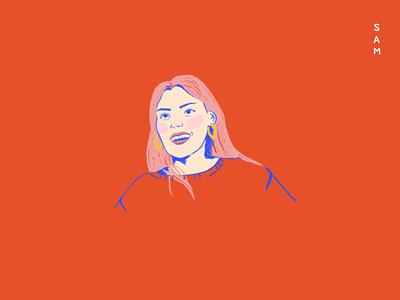 Sam! face girl bright illustration