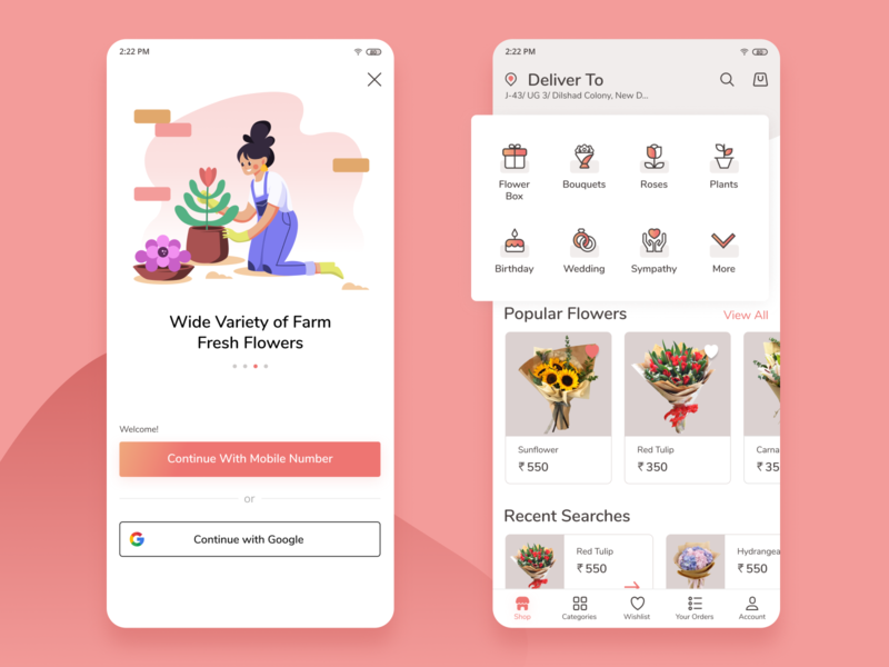 Flower Delivery App uidesign uxdesign uxui flat dribbble affinity vector branding ui minimal design
