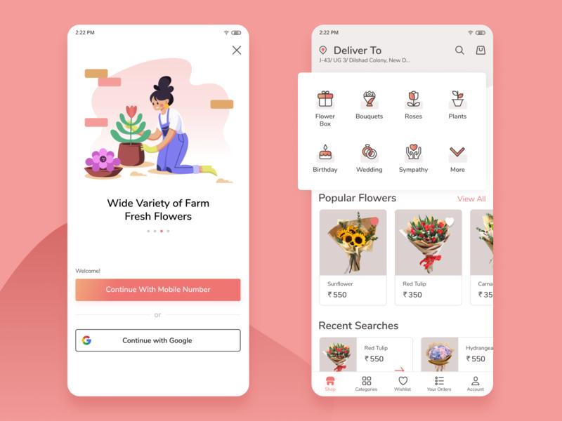 Flower Delivery App uidesign uxdesign uxui flat dribbble affinity vector branding ui minimal design