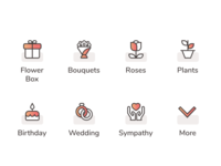 Flower Delivery App Icons gradient branding icons design iconset icons uidesign