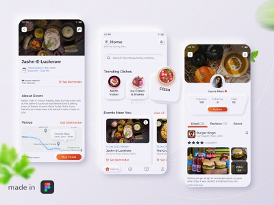Food and Events App Concept dark ui user experience user interface design user interface ui user interface food app design food app ui food app skeumorphism skeuomorph productdesign uiux