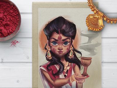 Durga Puja Art dribbble invite durga puja illustration poster