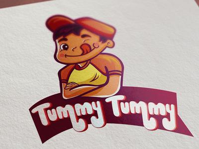 Tummy Tummy mascot hellodribbble dribbble debut shot flat minimal