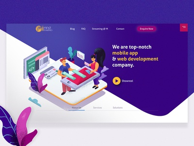 A landing page concept for website services company. :) dribbble flat design grainy minimal ui  ux design creative agency illustration isometric