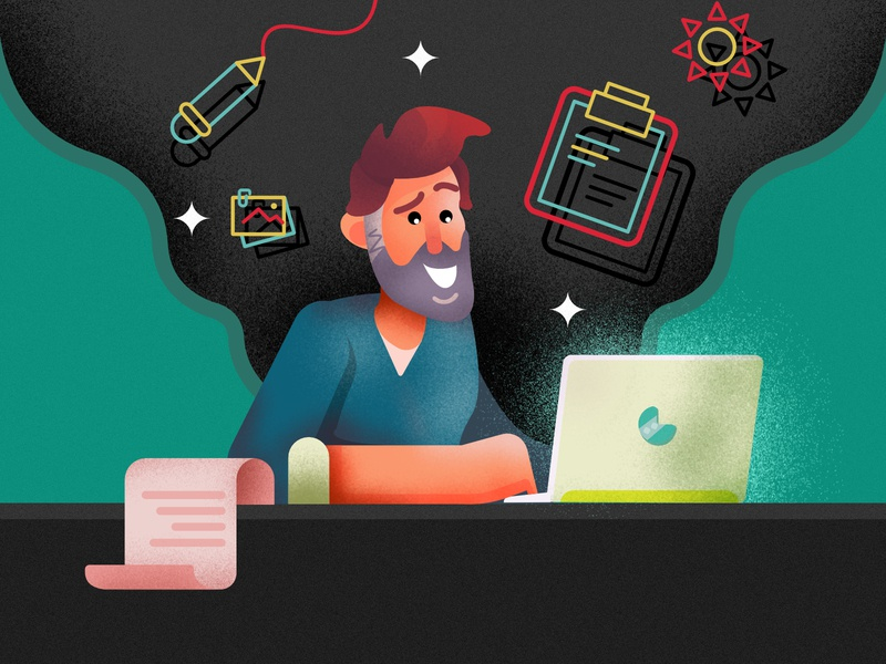 The content writer design grainy illustration affinity flat content writer