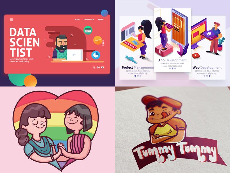 2018 Top 4 :) vector creative agency isometric minimal dribbble design grainy illustration flat