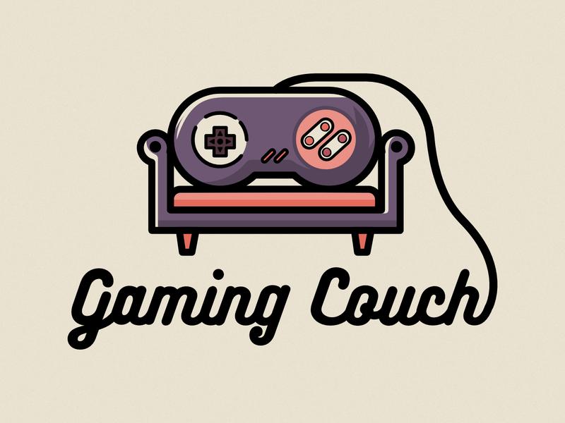 GamingCouch controller branding type flat dribbble affinity minimal logo design