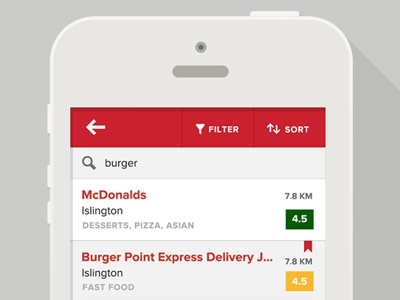 Search Results — Zomato iOS zomato ios app iphone search filter sort list flat search results
