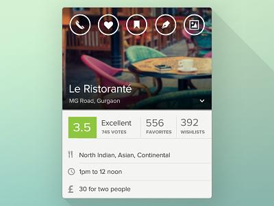Restaurant Screen — Zomato iOS App zomato app ui restaurant ios ios7 round icons ring gradient rating stats
