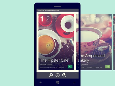 Collections—Zomato Windows Phone App windows phone ui app food zomato count cards restaurants pivots wp flat hipster