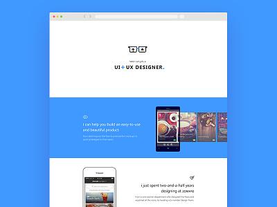 Personal Website portfolio blue ui ux website webpage browser mobile designer single-page responsive