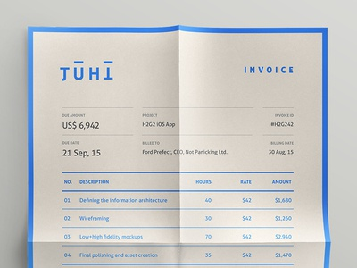 Invoice—Self Branding print invoice paper fold branding identity stationery receipt bill blue self branding grid