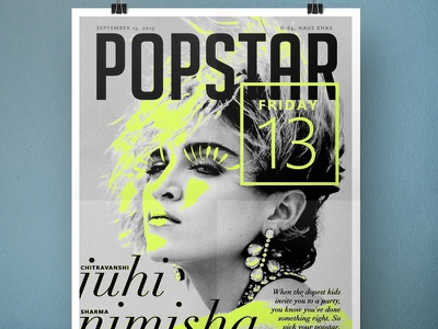 Popstar (Poster) poster invite neon green madonna photo type typography party serif pop greyscale